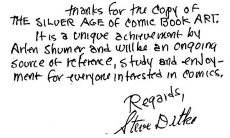 Steve Ditko praise for The Silver Age of Comic Book Art by San Diego Comic Fest guest Arlen Schumer
