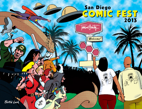 Cover of San Diego Comic Fest 2013 souvenir book by Batton Lash