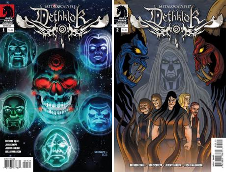 Dark Horse Metalocalypse Dethklok covers by San Diego Comic Fest. Guest Jon Schnepp