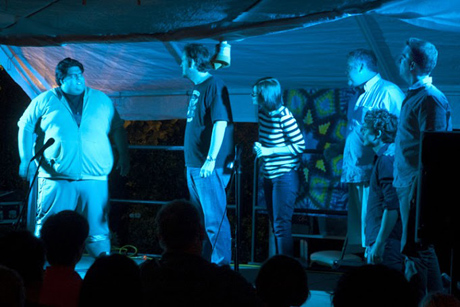 One of our most-popular programs: Dr. Who Live Comedy Improv under the tent.