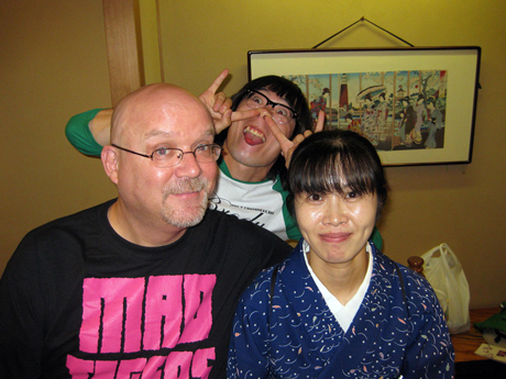 John Holmstrom with friends on a recent trip to Tokyo. (PUNK and punk are popular in Japan.)