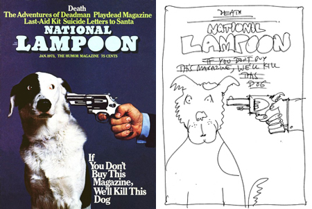 National Lampoon January 1973 cover and cover sketch