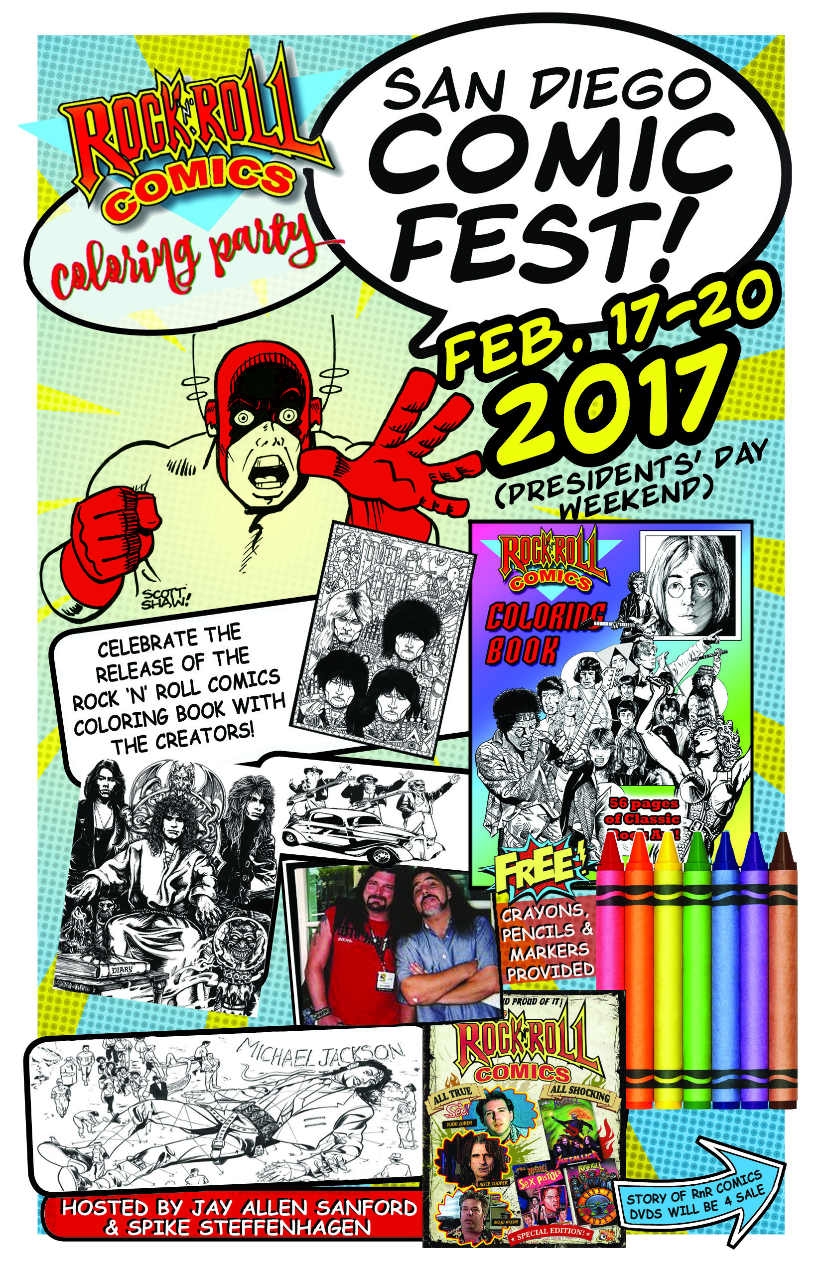 Rock N Roll Comics Coloring Book Party San Diego Comic Fest