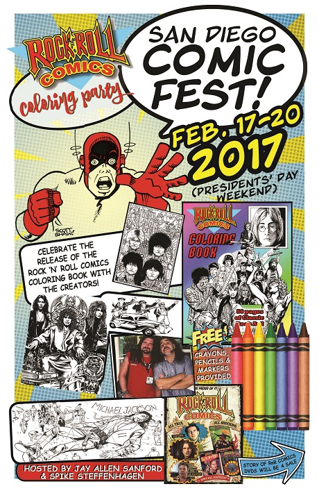 Flyer for Rock 'N' Roll Comics Coloring Party at San Diego Comic Fest