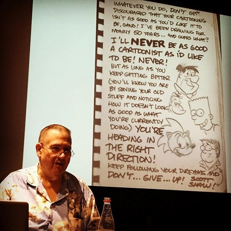 Scott Shaw lecturing to class of San Diego Comic Fest guest Michael Dooley