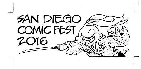 San Diego Comic Fest badge art by Stan Sakai