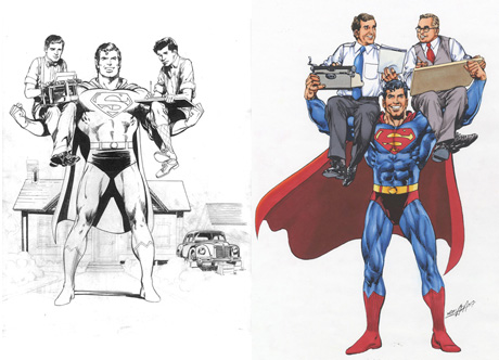 Jerry Siegel, Superman, and Joe Shuster by Neal Adams